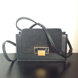 Charles & Keith Black Marble Sling Bag