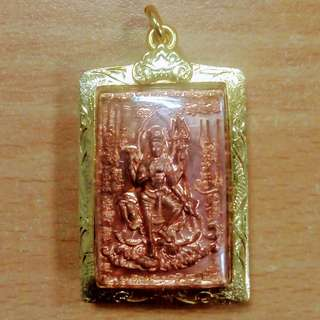 Kruba Krissana Copper Shiva with Micron Gold case