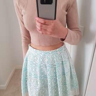 Lace Miniskirt (Aqua/White)