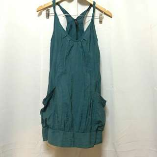 Blue green twisted strap dress