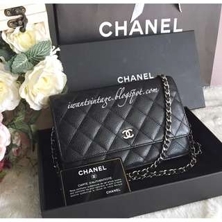 Chanel Classic Quilted Wallet On Chain-Black (SHW)