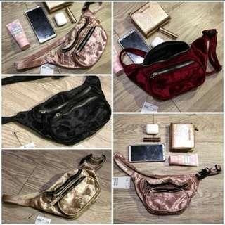 SALE HnM velvet belt bag suede waist bag mini