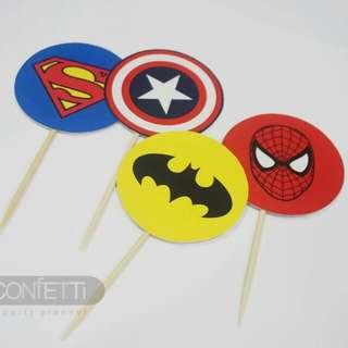 Super Heroes Cupcake Topper