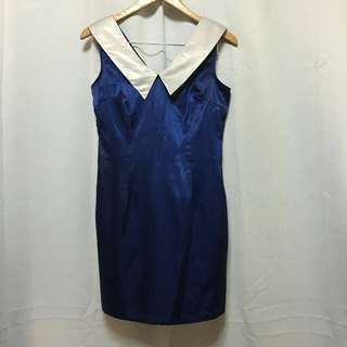 Blue white collared silky dress