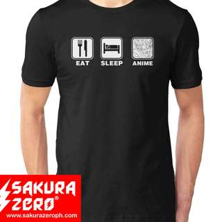 Eat Sleep Anime repeat  Anime Black  shirt