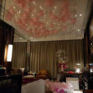 Wedding proposal balloon decorations setup