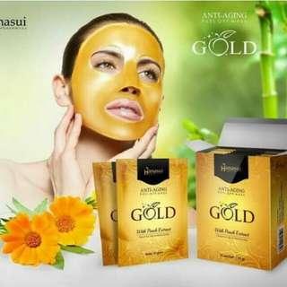 Masker hanasui gold anti aging