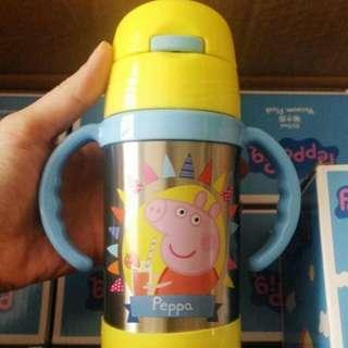 【代購】香港進口 Peppa Pig 佩佩豬 304不鏽鋼 輕量幼兒手提式 吸管保溫瓶