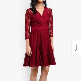 Dark red wrap front lace dress