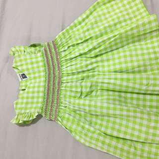 Carter's USA green dress smocking