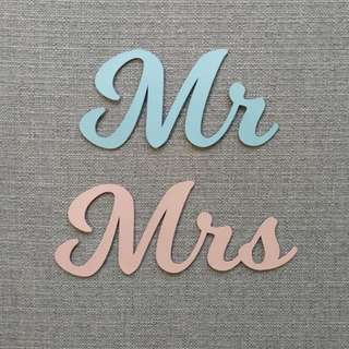 Mr Mrs Wedding Signs Set Customized