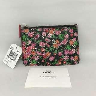 Coach Key Pouch Size 13x9 In Pink Floral Multi (bisa jadi dompet STNK, Kunci Mobil dan Card Holder utk tas Kecil)