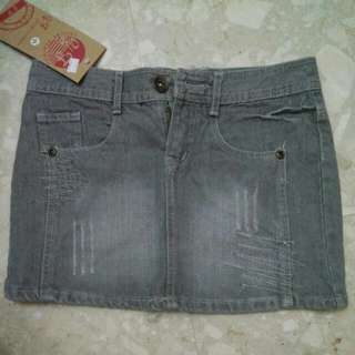 Denim Casual Skirt Street Style (Grey)