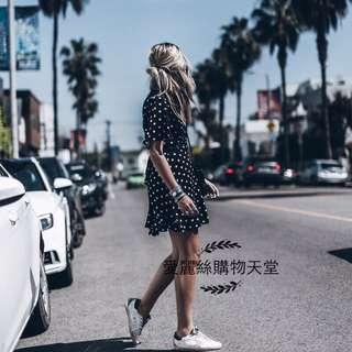 愛麗絲購物天堂~歐美 AL度假風白色波點小黑裙 甜美V領雪紡圓點連衣裙