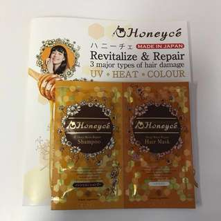 Honeyce Deep Moist Repair Shampoo & Mask Satchet Sample / Trial / Travel Pack (Made in Japan)