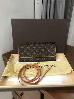 Authentic LOUIS VUITTON Monogram Canvas Twin Pochette GM Clutch/Crossbody bag