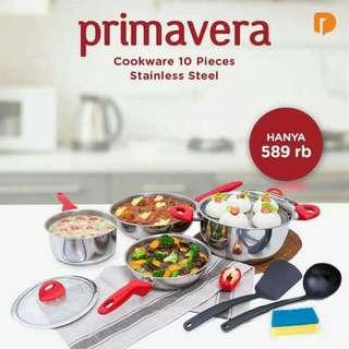 PRIMAVERA COOKWARE 10 PIECES STAINLESS STEEL ( Set Of 10 )
