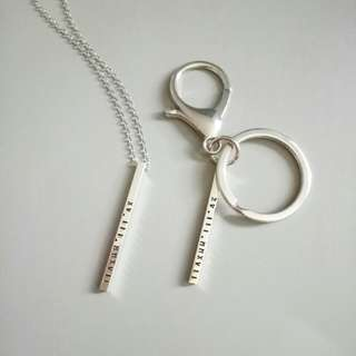 Custom Hand-Stamped Personalised Couple Necklace and Key chain Set