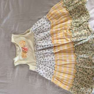 Yellow multi color patch garden dress USA