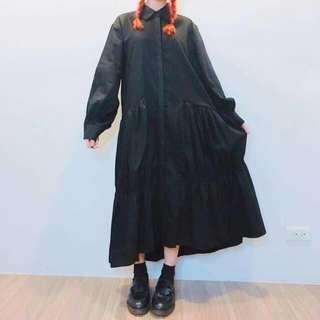 絕版!卡肉carol設計師款 細摺襯衫洋裝 暗黑系 原宿 日系 面試必備 長裙 百褶裙