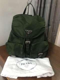 Preowned Authentic Prada Nylon Tessuto Khaki Backpack Bag