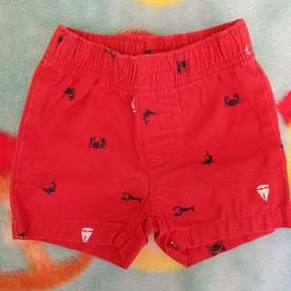baby shorts 0-3 mos. (red)