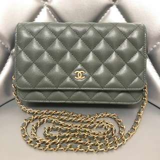Chanel Wallet On Chain Caviar Leather Green With Little Sparkles Unused & 💯 Authentic‼️