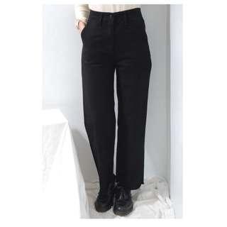 。error dot。韓國空運純黑高腰牛仔寬褲