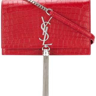 YSL Monogram Kate Chain Wallet with Tassel in Silver Unused & 💯 Authentic‼️