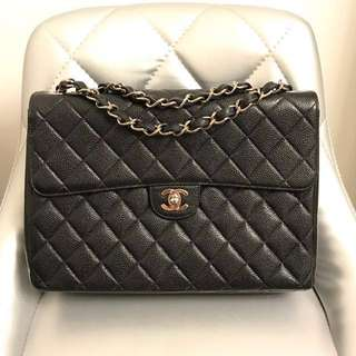 Chanel Matelasse Black Caviar Leather Single Flap Preloved & 💯% Authenthic‼️