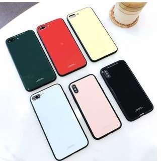 手機殼IPhone6/7/8/plus/X : 簡約純色玻璃背板