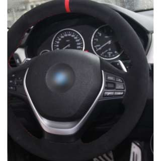 Black Suede Red Marker Car Steering Wheel Cover for BMW
