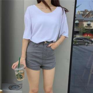 GREY DENIM SHORTS (SIZE M)