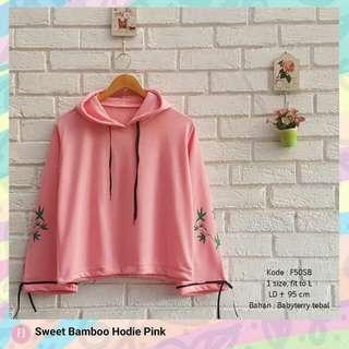 Sweet bamboo hoodie pink