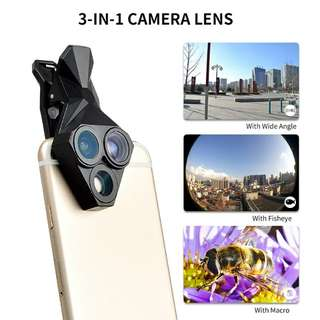 APEXEL 3 in 1 Smartphone Lens Kit - Fisheye Lens, Macro Lens, Wide Angle Lens, iOS and Android Fit (CVAIA-F024)