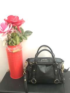 Preowned Authentic MIU MIU Black Vitello Lux Fold-Over Mini Bow Satchel Bag