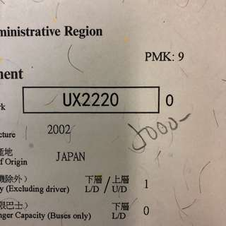 車牌號碼-UX2220