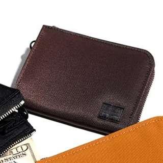 porter尼龍牛皮拉鏈銀包zip wallet真皮錢包leather purse荷包皮夾brown啡色