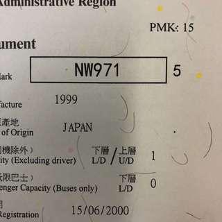 車牌號碼-NW971