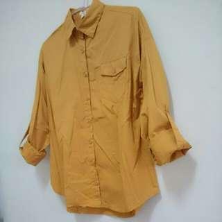 薑黃色長袖襯衫 #換季五折