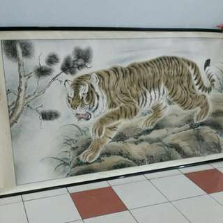 Huge Old Chinese Painting 'Tiger' L200×104cm Unmarked,no stamp nor signature