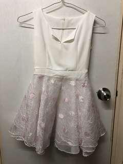 白色拼粉色輕紗party dress 99% New