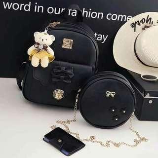 Korean Backpack bag set 3in1 Size 32x28cm