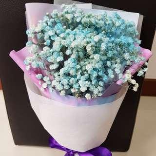 Blue dry baby breath bouquet