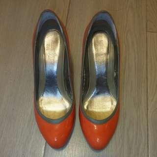 "MILAN. 橙色 3""高跟鞋90% new"