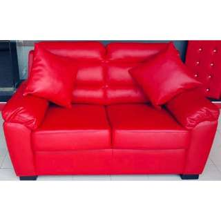 Red PU Leather 2 Seater Sofa