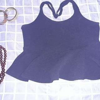 Blue sleeveless croptop with cute sheering #springcleaning