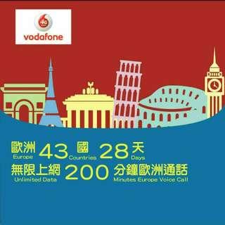 歐洲多國 數據卡 28日 4G 1GB +無限數據 上網卡 + 200分鐘歐洲免費通話 SIM CARD