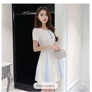 Two Tone Short Sleeves A Line dress