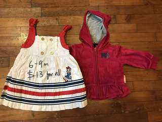 6-9 month bundle of dress and jacket for baby girl